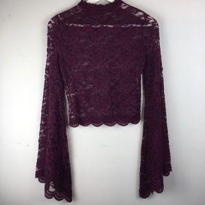 Tops - NWT FESTIVAL Lace Maroon MEDIUM crop wide sleeve